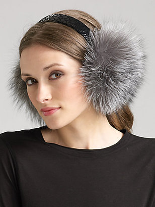 Saks Fifth Avenue Collection Silver Fox Earmuffs