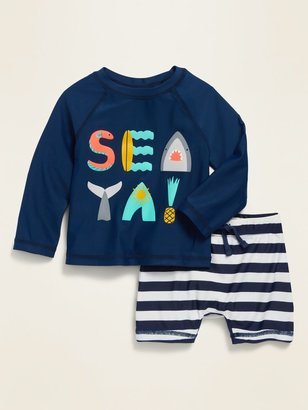 Old Navy Unisex Long-Sleeve Rashguard Top & Shorts Set for Baby