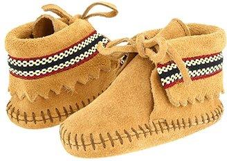 Minnetonka Kids Braid Bootie (Infant/Toddler) (Tan Suede) Kids Shoes