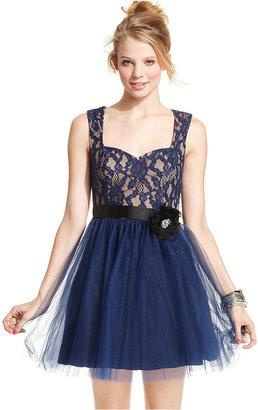 City Studios Juniors Dress, Sleeveless Lace Tulle