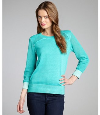 Rebecca Minkoff turquoise cotton perforated panel 'Ontario' crewneck sweater