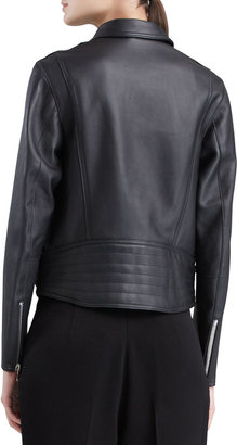 3.1 Phillip Lim Sculpted Leather Motorcycle Jacket, Black
