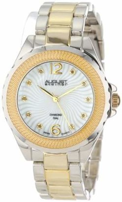 August Steiner Women's AS8064TTG Genuine Diamond Mother-Of-Pearl Bracelet Watch