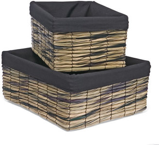 Container Store Lined Woven Straw Bins