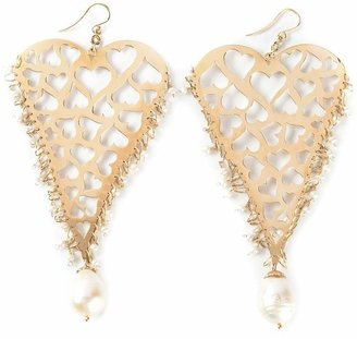 Natasha Zinko 18kt yellow gold heart earrings