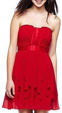 XOXO Shirred Bodice Ruffled Dress