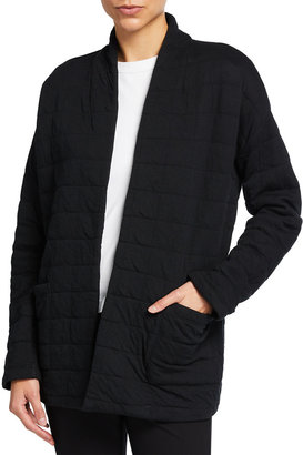 Eileen Fisher Plus Size Quilted Cotton High-Collar Knit Jacket