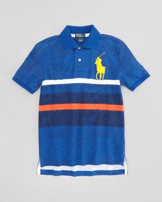 Ralph Lauren Striped Mesh Polo Shirt, French Navy, XL