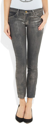 Current/Elliott The Stiletto metallic cropped low-rise skinny jeans