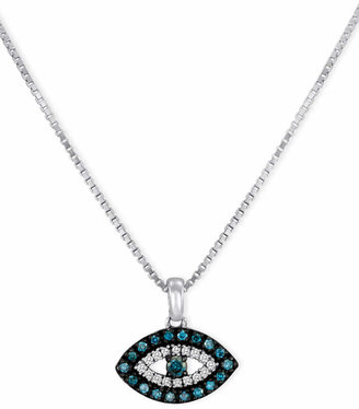 Macy's Sterling Silver Necklace, Blue Diamond and White Diamond Accent Evil Eye Pendant (1/6 ct. t.w.)