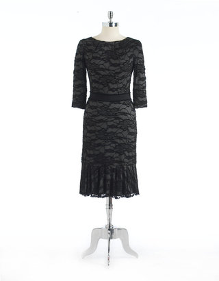 David Meister Floral Lace Ruffled Jersey Dress
