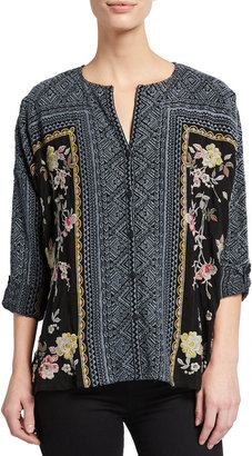Johnny Was Rumi Embroidered Button-Down Blouse