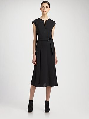 Akris Punto Jersey-Bodice Wool Dress