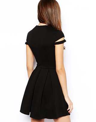 Forever Unique Selfish by Hexa Skater Dress with Shoulder Detail