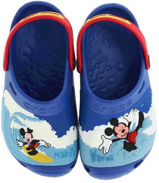 Crocs Mickey Makin' Waves Clog (Infant/Toddler/Youth) (Sea Blue/Red) - Footwear