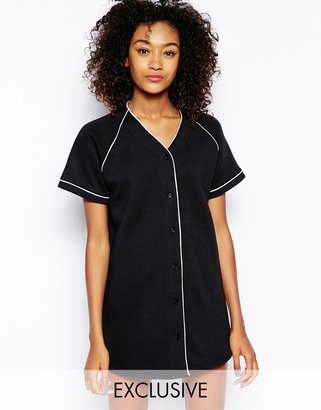 Daisy Street Button Through Baseball Sweatshirt Dress
