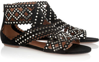 Alaia Studded cutout suede sandals