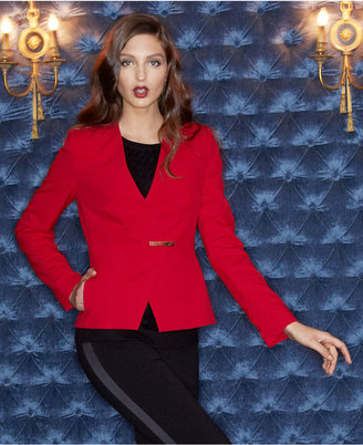 Calvin Klein Jacket, Long-Sleeve Hardware Collarless Blazer
