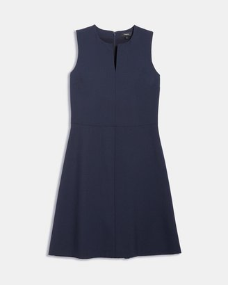 Theory Split Front Dress in Stretch Wool
