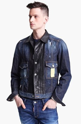 DSquared Dsquared2 Denim Jacket with Leather Trim