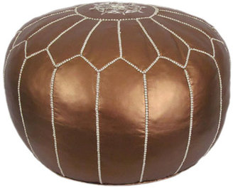 Ikram Design Metallic Moroccan Pouf Ottoman