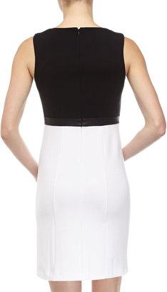 Neiman Marcus Colorblocked Sleeveless Dress, Black/White