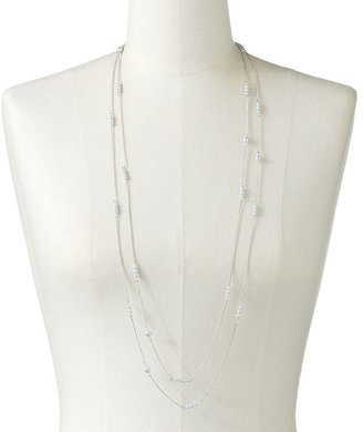 Lauren Conrad silver tone simulated pearl long necklace