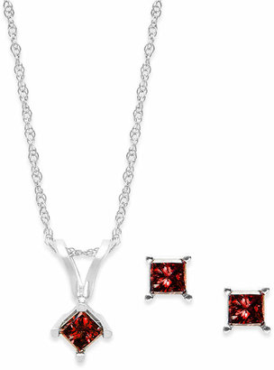 Macy's 10k White Gold Red Diamond Necklace and Earring Set (1/4 ct. t.w.)