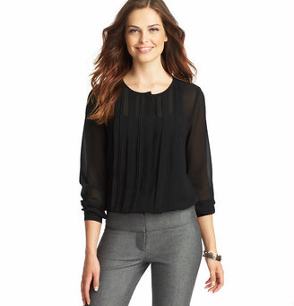 LOFT Tall Pleated Front Sheer Blouse