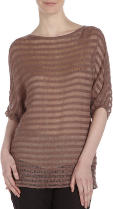 Ports 1961 Intarsia-Stripe Linen Sweater, Crocus Mix