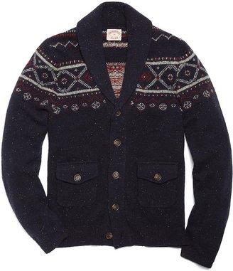 Brooks Brothers Wool Fair Isle Shawl Collar Cardigan