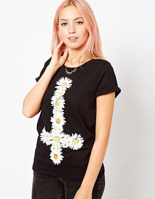 Goodie Two Sleeves Daisy Cross T-Shirt With Roll Sleeves