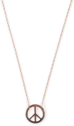 "Jennifer Zeuner Jewelry 1/2"" Peace Sign Necklace in Rose Gold"
