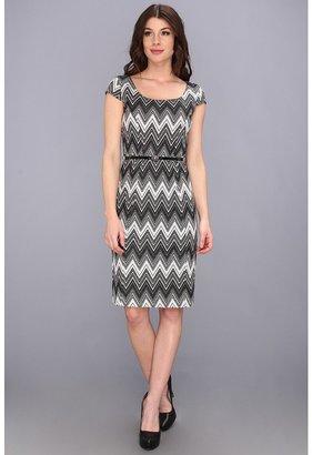Anne Klein Chevron Ponte Shift Dress 10438363