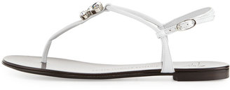 Giuseppe Zanotti Jeweled Leather Thong Sandal, White