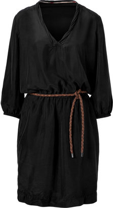 Burberry Black Belted Silk Dress
