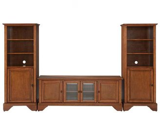 Crosley LaFayette Low Profile TV Stand and 2-Audio Piers in Cherry