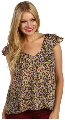 BCBGeneration Low Back Ruffle Top (Pearl Multi) - Apparel