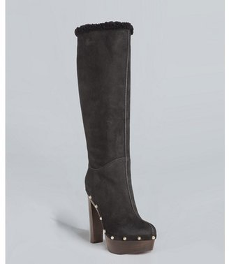 Gucci black suede 'Joplin' shearling clog boots