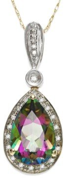 Macy's Mystic Topaz (3-1/3 ct. t.w.) and Diamond Accent Pendant Necklace in 14k Gold and 14k White Gold
