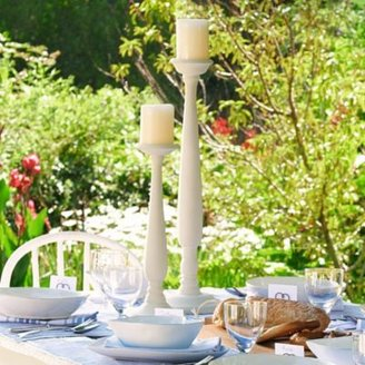 The White Company Wooden Pillar-Candle Holder