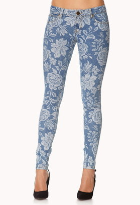 LOVE21 LOVE 21 Life In ProgressTM Brocade Rose Skinny Jeans
