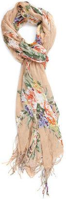 Floral Fringe Scarf