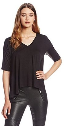 BCBGeneration Women's Drape-Back Contrast-Sleeve Top