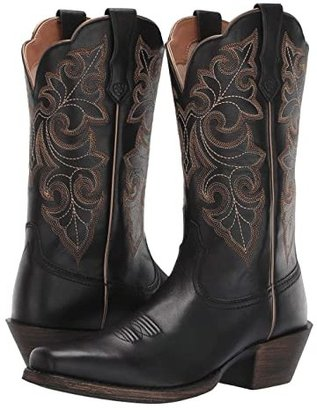 Ariat Round Up Square Toe (Limousine Black) Cowboy Boots