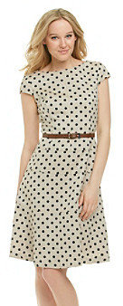 Anne Klein Dot Herringbone Swing Dress