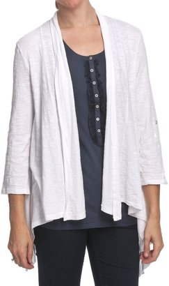 True Grit Slub Knit Cover-Stitch Cardigan Sweater - 3/4 Tab Sleeves, Open Front (For Women)