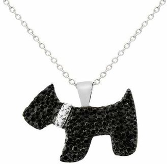 """Black Diamond Distributed by Target 0.01 CT.T.W. Round-Cut Accent Prong Set Dog Silver Plated Pendant Necklace (18"""")"""