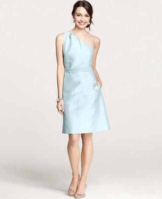 Ann Taylor Silk Dupioni One Shoulder Dress