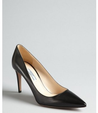 Prada black leather pointed toe pumps
